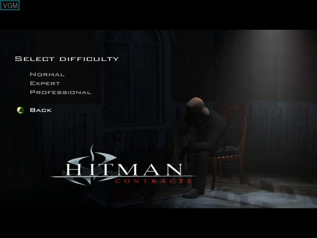 Menu screen of the game Hitman - Contracts on Microsoft Xbox