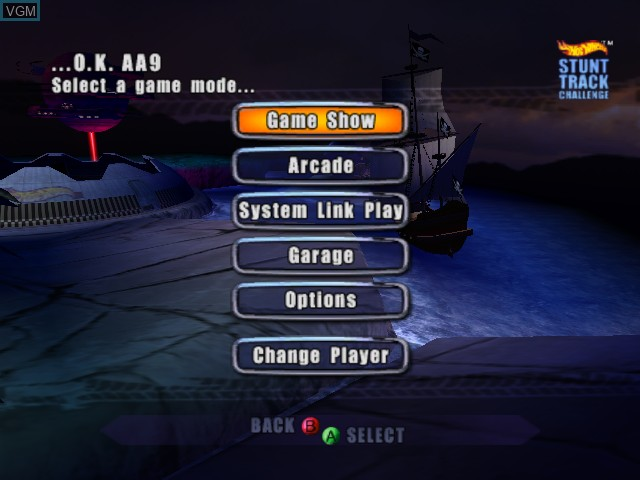 Menu screen of the game Hot Wheels - Stunt Track Challenge on Microsoft Xbox
