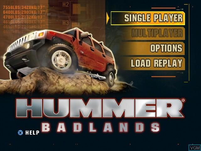 Menu screen of the game Hummer Badlands on Microsoft Xbox
