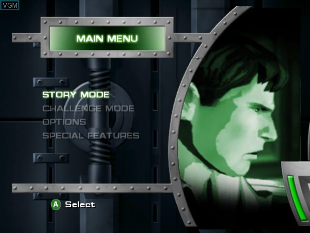 Menu screen of the game Hulk on Microsoft Xbox