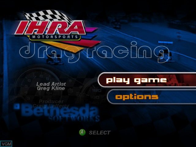 Menu screen of the game IHRA Professional Drag Racing 2005 on Microsoft Xbox