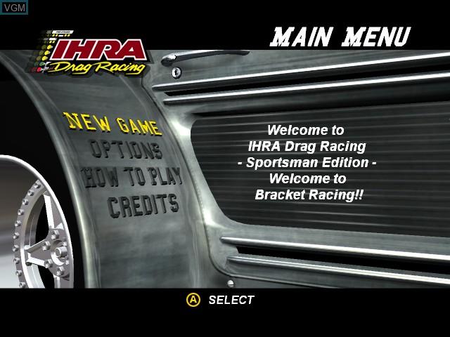 Menu screen of the game IHRA Drag Racing - Sportsman Edition on Microsoft Xbox