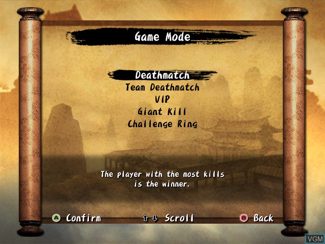 Menu screen of the game Iron Phoenix on Microsoft Xbox