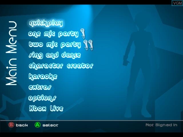 Menu screen of the game Karaoke Revolution Party on Microsoft Xbox