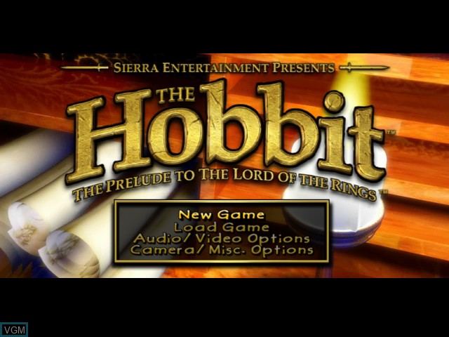 Menu screen of the game Hobbit, The on Microsoft Xbox