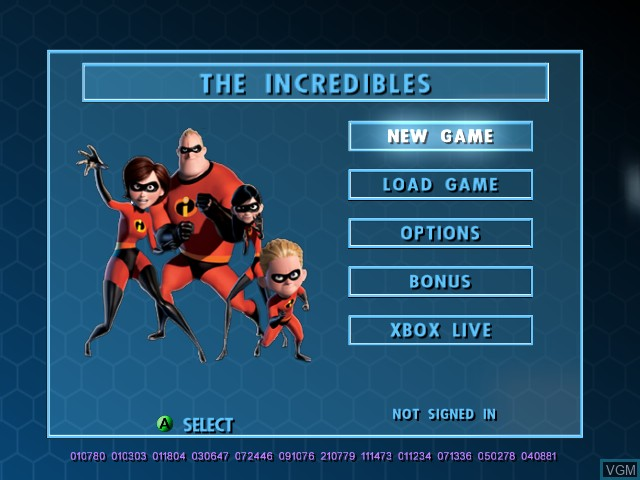 Menu screen of the game Incredibles, The on Microsoft Xbox