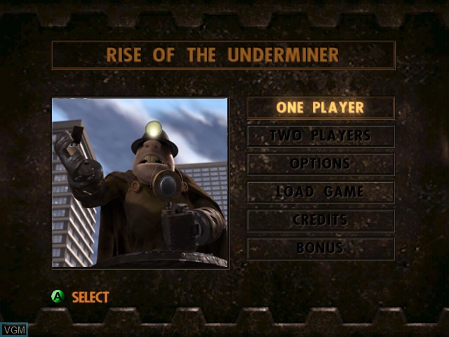 Menu screen of the game Incredibles, The - Rise of Underminer on Microsoft Xbox