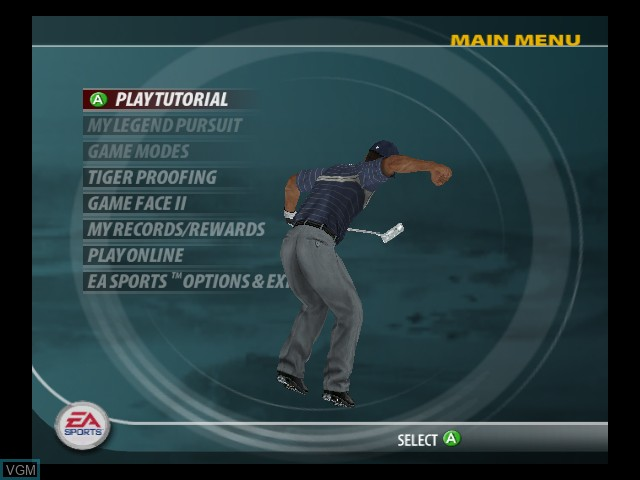 Menu screen of the game Tiger Woods PGA Tour 2005 on Microsoft Xbox