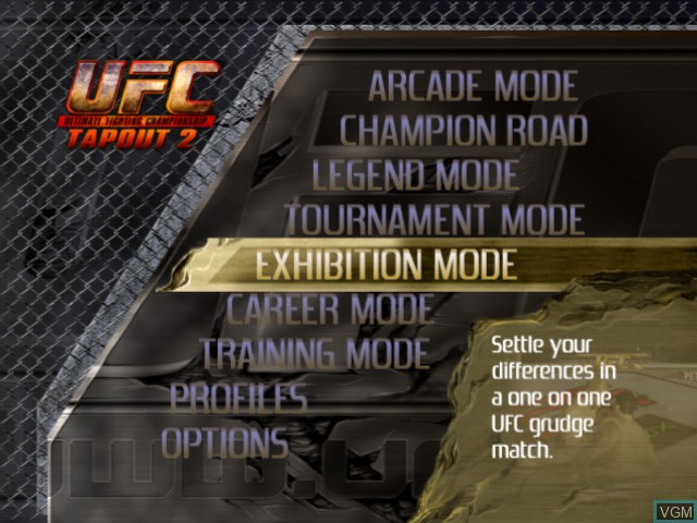 Menu screen of the game UFC - Tapout 2 on Microsoft Xbox