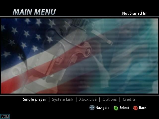 Menu screen of the game Urban Chaos - Riot Response on Microsoft Xbox
