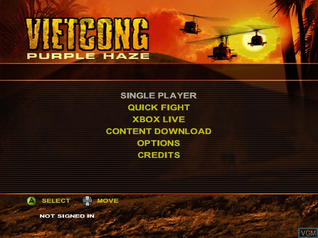 Menu screen of the game Vietcong - Purple Haze on Microsoft Xbox