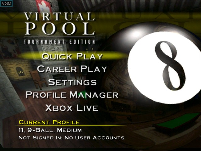 Menu screen of the game Virtual Pool - Tournament Edition on Microsoft Xbox