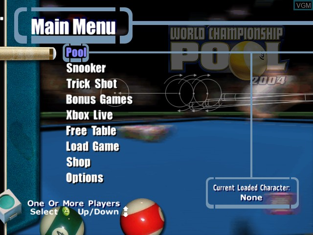 Menu screen of the game World Championship Pool 2004 on Microsoft Xbox