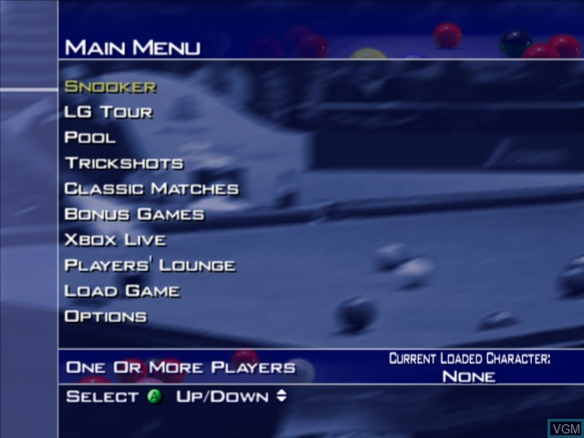 Menu screen of the game World Championship Snooker 2004 on Microsoft Xbox