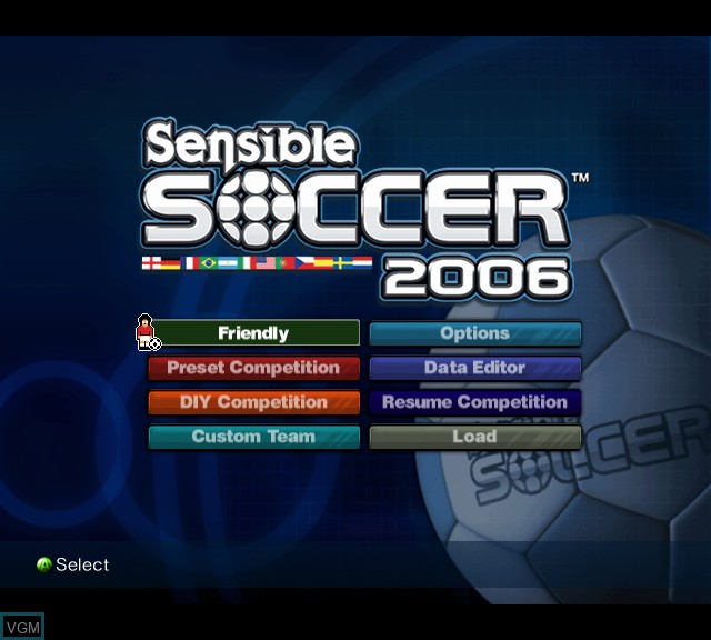 Menu screen of the game Sensible Soccer 2006 on Microsoft Xbox