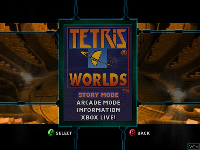 Menu screen of the game Tetris Worlds on Microsoft Xbox