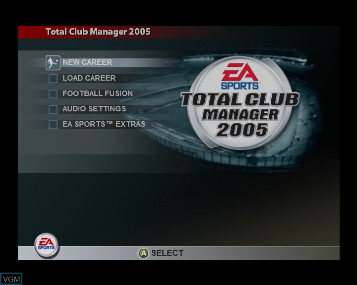 Menu screen of the game Total Club Manager 2005 on Microsoft Xbox