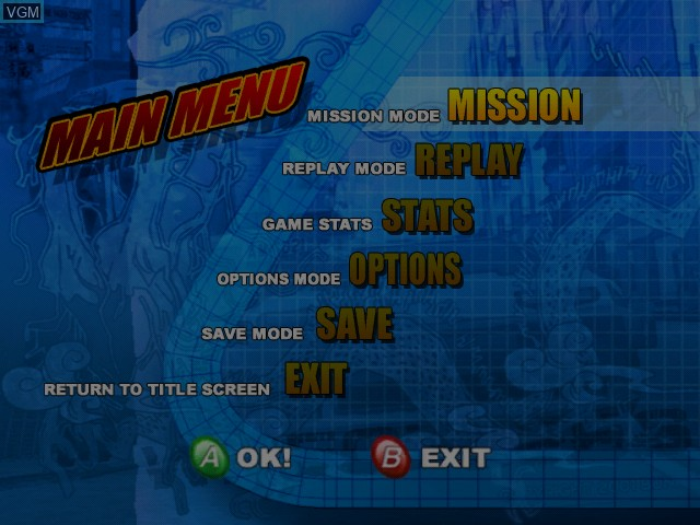Menu screen of the game Wreckless - The Yakuza Missions on Microsoft Xbox