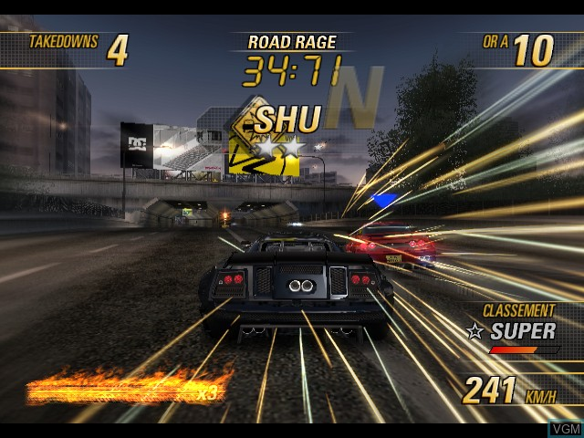 In-game screen of the game Burnout Revenge on Microsoft Xbox