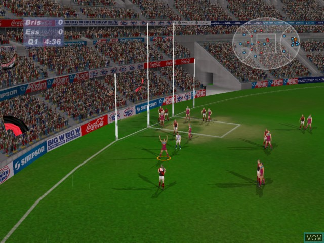 In-game screen of the game AFL Live 2003 on Microsoft Xbox