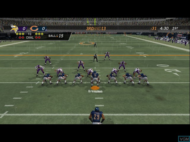 In-game screen of the game Madden NFL 09 on Microsoft Xbox