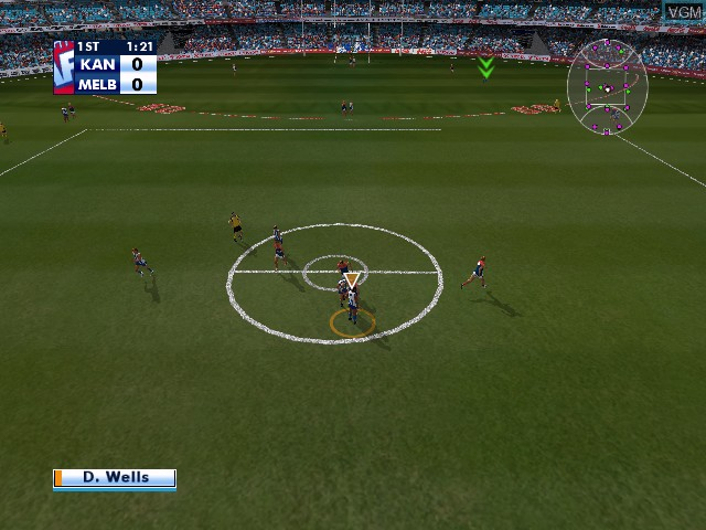 In-game screen of the game AFL Live Premiership Edition on Microsoft Xbox