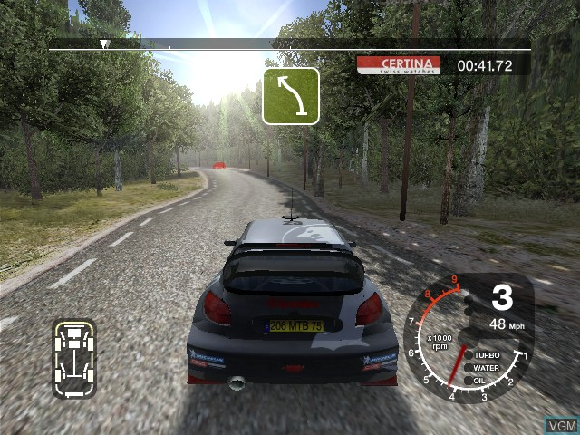In-game screen of the game Colin McRae Rally 2005 on Microsoft Xbox