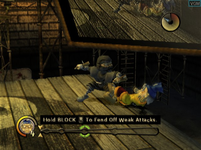 In-game screen of the game Kung Fu Chaos on Microsoft Xbox