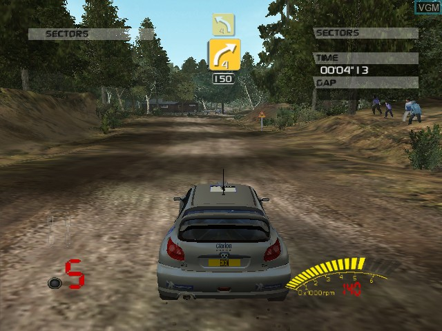 In-game screen of the game V-Rally 3 on Microsoft Xbox
