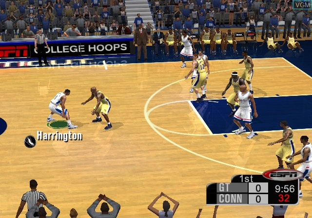 In-game screen of the game ESPN College Hoops 2K5 on Microsoft Xbox