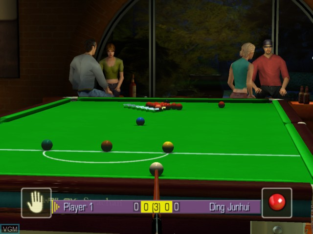 In-game screen of the game World Snooker Championship 2005 on Microsoft Xbox
