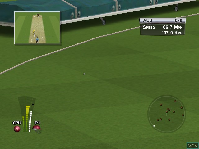 In-game screen of the game Brian Lara International Cricket 2005 on Microsoft Xbox