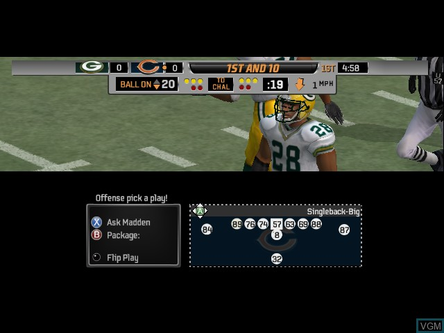 In-game screen of the game Madden NFL 06 on Microsoft Xbox