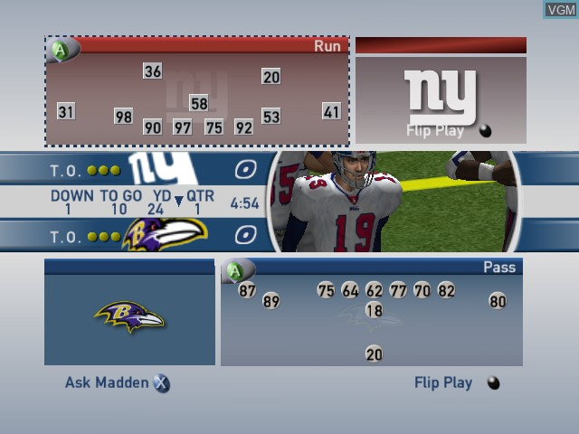 In-game screen of the game Madden NFL 2002 on Microsoft Xbox