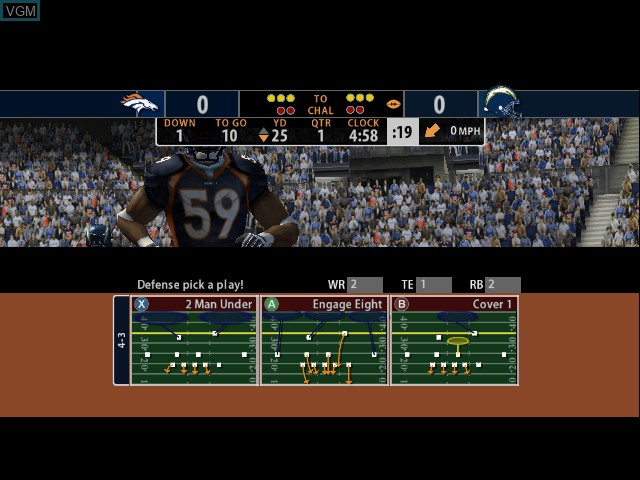 In-game screen of the game Madden NFL 2005 on Microsoft Xbox
