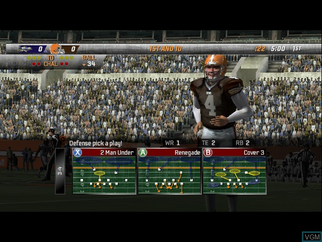 In-game screen of the game Madden NFL 08 on Microsoft Xbox