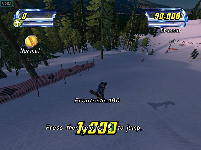 In-game screen of the game Amped - Freestyle Snowboarding on Microsoft Xbox
