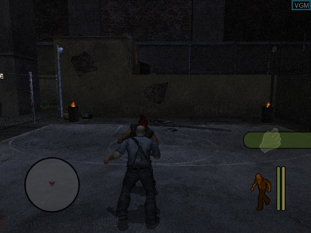 In-game screen of the game Manhunt on Microsoft Xbox