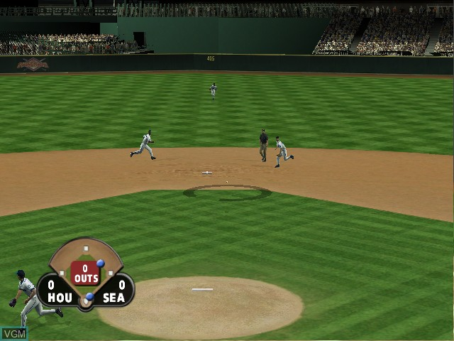 In-game screen of the game All-Star Baseball 2004 on Microsoft Xbox