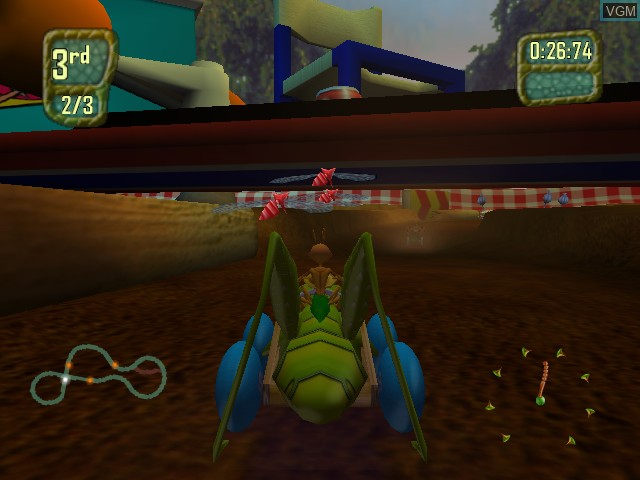 In-game screen of the game Antz Extreme Racing on Microsoft Xbox