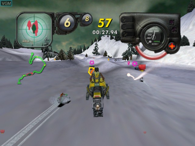 In-game screen of the game Arctic Thunder on Microsoft Xbox