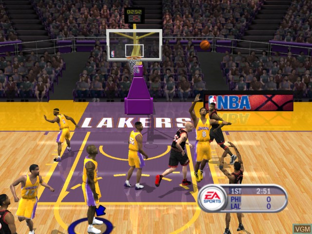 In-game screen of the game NBA Live 2002 on Microsoft Xbox