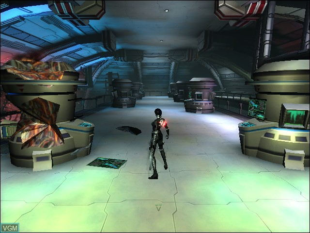 In-game screen of the game Aeon Flux on Microsoft Xbox