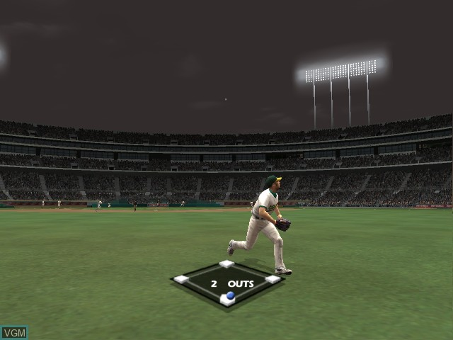 In-game screen of the game All-Star Baseball 2005 on Microsoft Xbox