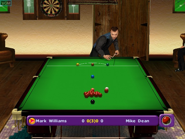 In-game screen of the game World Championship Snooker 2003 on Microsoft Xbox