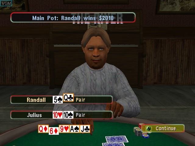 In-game screen of the game World Championship Poker on Microsoft Xbox