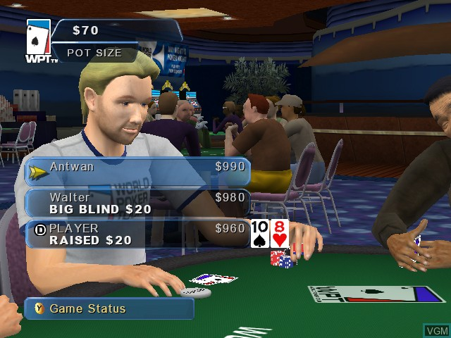 In-game screen of the game World Poker Tour on Microsoft Xbox