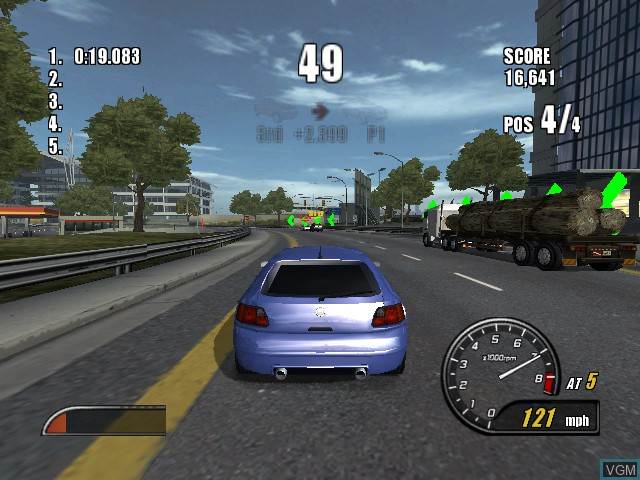 In-game screen of the game Burnout 2 - Point of Impact on Microsoft Xbox