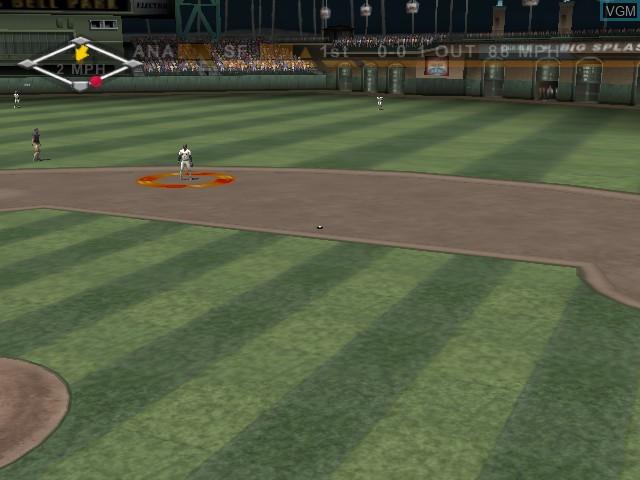 In-game screen of the game High Heat Major League Baseball 2004 on Microsoft Xbox