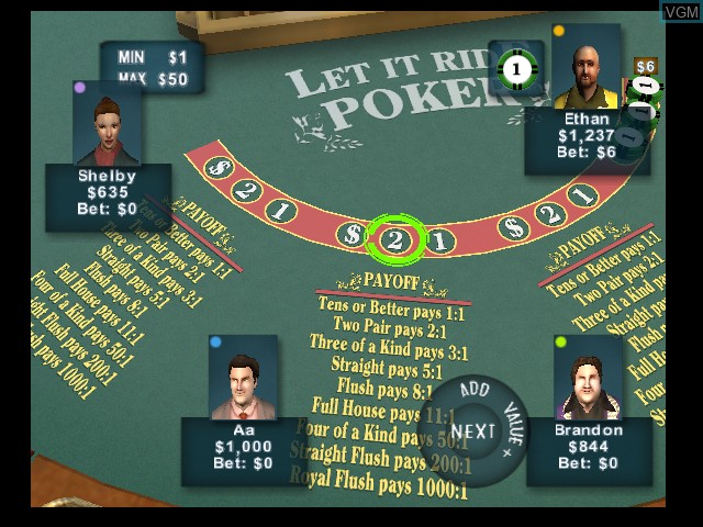 In-game screen of the game High Rollers Casino on Microsoft Xbox